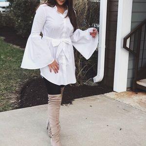 Self-Tie Button-Front Shirt Dress